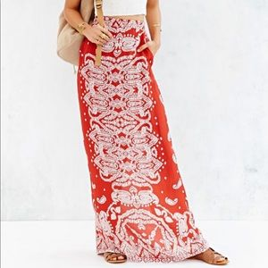 Red and white maxi skirt